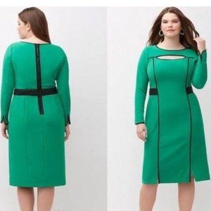NEW Lane Bryant Green with Black Trim Dress 22
